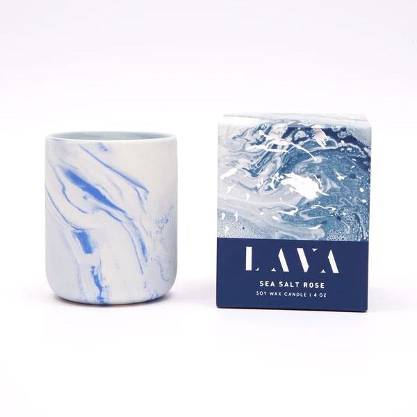 Serenity Sea Salt Lava Ceramic Candle 12oz