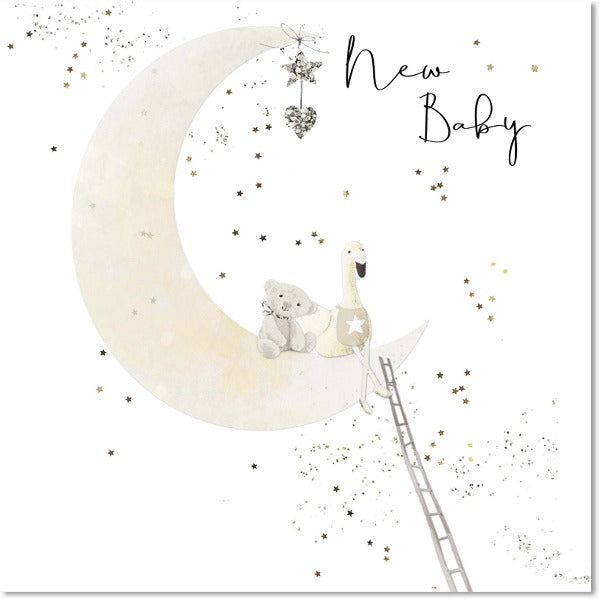 baby greeting card with moon