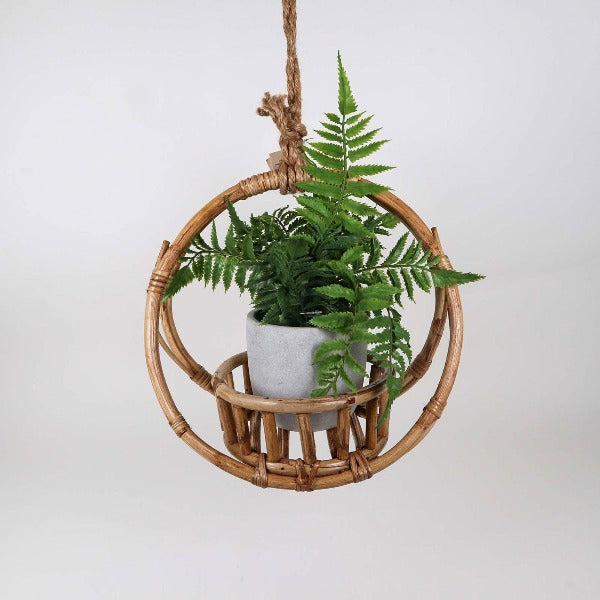 rattan round hanging cane pot and planter holder for home decor