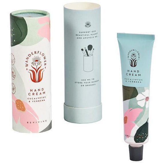 green and pink eucalyptus and verbena hand cream in tube for women