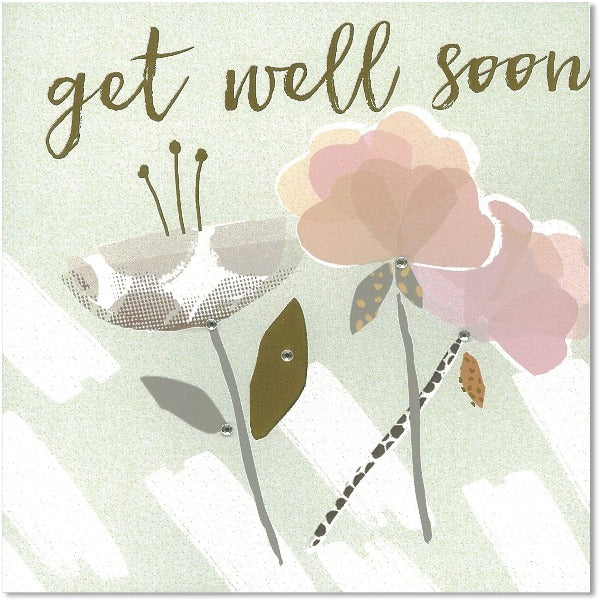 green and pink floral get well soon greeting card