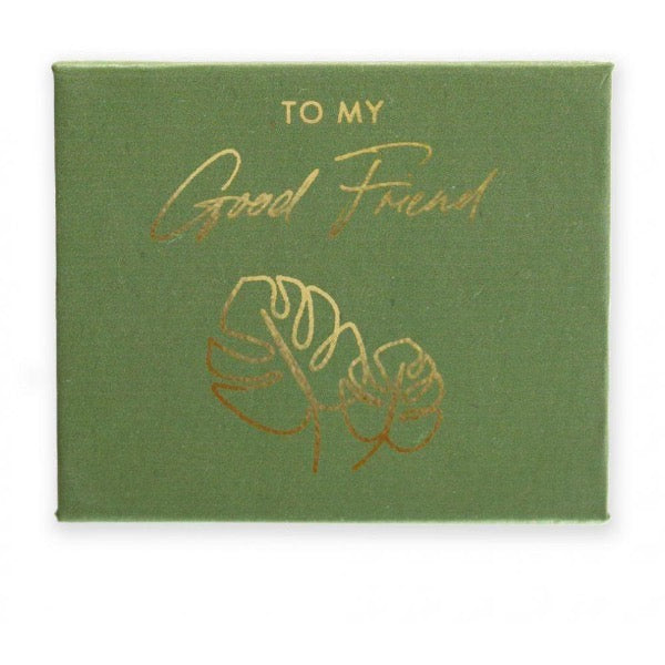 gold foil pebble in custom box green good friends