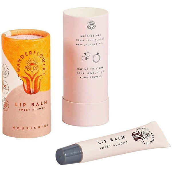 yellow sweet almond lip balm in tube