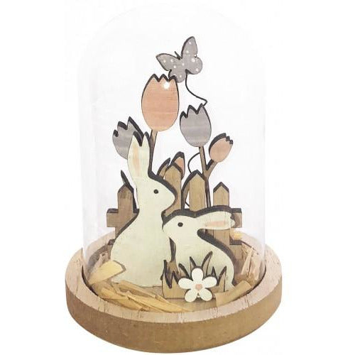 Bunnies in Glass Dome 11cm