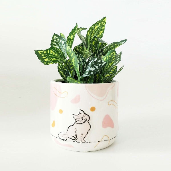Linear Cat Planter Pink Small 11cm