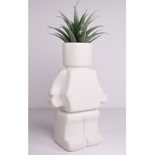 block man white planter