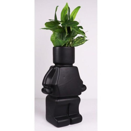 block man planter black
