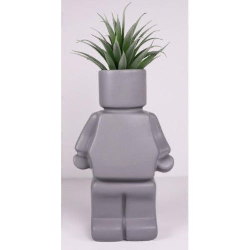 grey block man planter