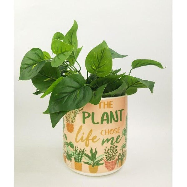 peach and green planter with quote