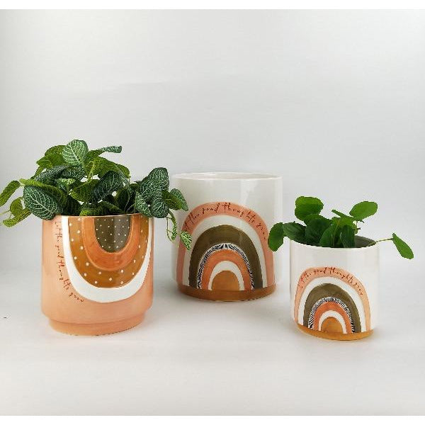 terracotta and green planter with quote