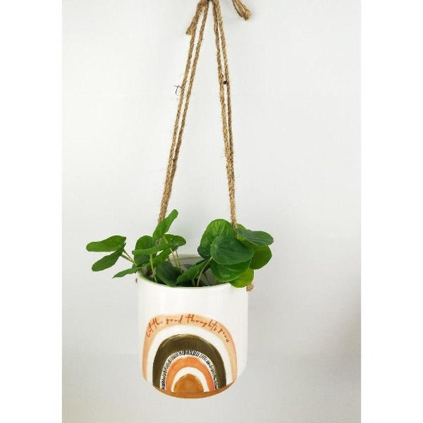 terracotta and green hanging planter with quote
