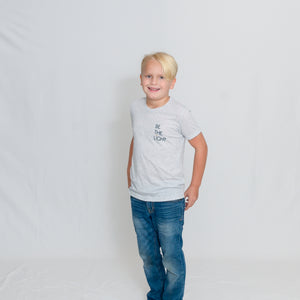 Kids White Fleck Crewneck Short Sleeve Tshirt with Be the Light Design on Chest
