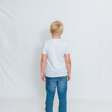 Load image into Gallery viewer, Rear View Kids White Fleck Crewneck Short Sleeve Tshirt with Be the Light Design on Chest
