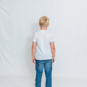 Rear View Kids White Fleck Crewneck Short Sleeve Tshirt with Be the Light Design on Chest