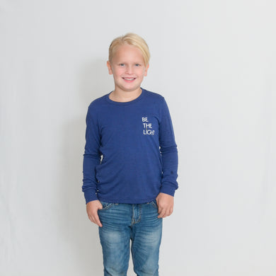 Royal Blue Kids Long Sleeve Jersey Tee with Be the Light on the Chest