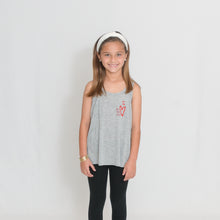 Load image into Gallery viewer, Girls Flowy Racerback Tank Top in light heather gray with Ari's Heart in red on left chest