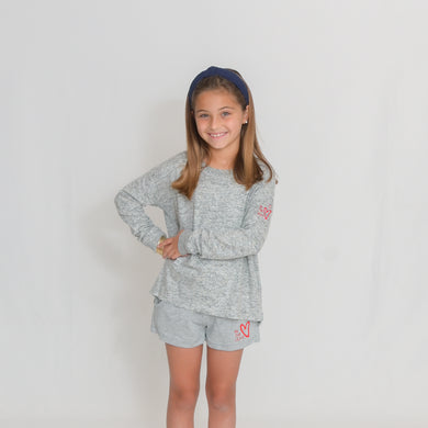 Girls - Light Gray/Oxford Long Sleeve Lightweight Cuddle Top - Ari Heart and Be the Light Text in Red