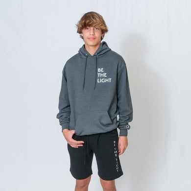 Charcoal Gray Hooded Sweatshirt with Be the Light Design on Left Chest
