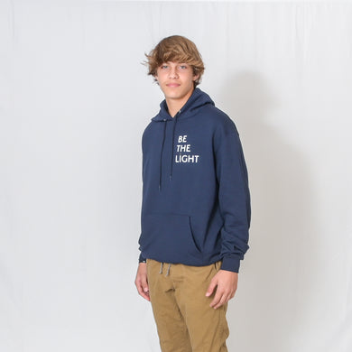 Heather Navy Hooded Sweatshirt with Be the Light Design on Left Chest
