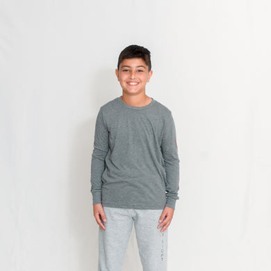 Gray Kids Long Sleeve Jersey Tee with Ari Heart and Be the Light on the Left Sleeve