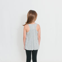 Load image into Gallery viewer, Rear view Girls Flowy Racerback Tank Top in light heather gray with Ari's Heart in red on left chest