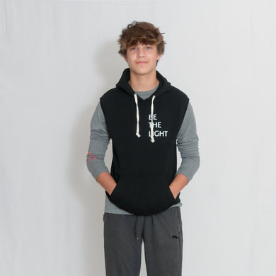 Black Sleeveless Fleece Hooded Sweatshirt with Be the Light Design in White on the Chest