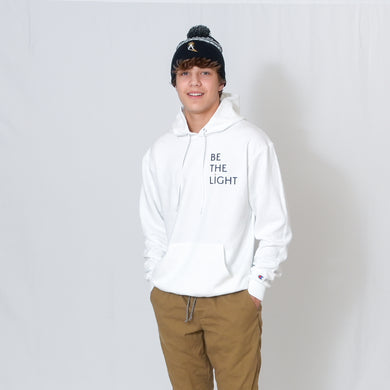White Hooded Sweatshirt with Be the Light Design on Left Chest
