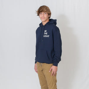 Navy Hooded Sweatshirt with Be the Light Design on Left Chest