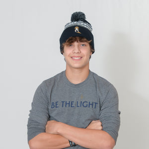 Navy and Gray Ari Arteaga Foundation Beanie with Pom on Top