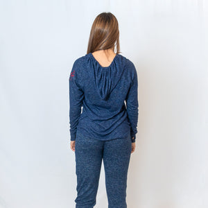 Rear View Ladies Navy Cuddle V-Neck Hoodie with Ari Heart and Be the Light in Red Writing on Left Shoulder