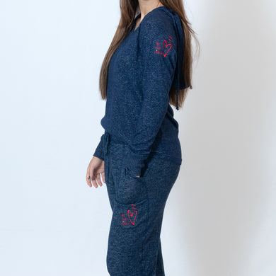 Navy Cuddle Joggers For Ladies with Embroidered Ari Heart and Be the Light