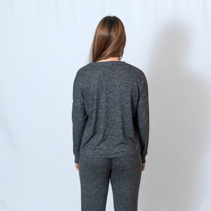 Rear View Charcoal Long Sleeve Cuddle Boxy Crew Neck T-shirt For Ladies with Embroidered Ari Heart and Be the Light on Sleeve