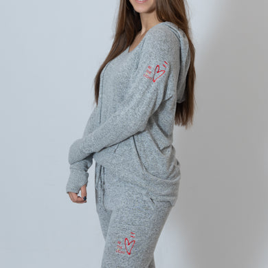 Oxford Gray Cuddle Joggers For Ladies with Embroidered Ari Heart and Be the Light