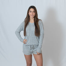 Load image into Gallery viewer, Oxford Gray Cuddle Shorts For Ladies with Embroidered Ari Heart and Be the Light