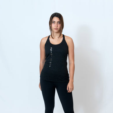 Vintage Black Racerback Tank with Raw Hem Look and Be the Light Down the Front