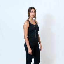 Load image into Gallery viewer, Vintage Black Racerback Tank with Raw Hem Look and Be the Light Down the Front