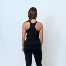 Load image into Gallery viewer, Rear View Vintage Black Racerback Tank with Raw Hem Look and Be the Light Down the Front