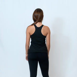 Rear View Vintage Black Racerback Tank with Raw Hem Look and Be the Light Down the Front