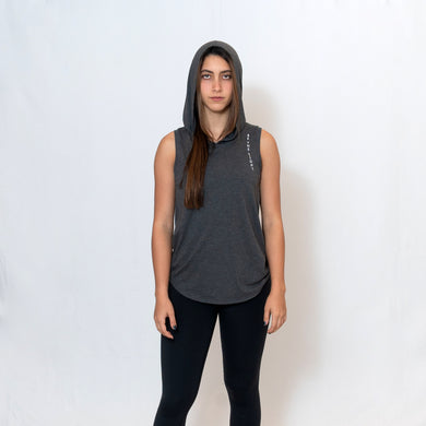 Charcoal Sleeveless Hoodie with Be the Light Down the Left Shoulder