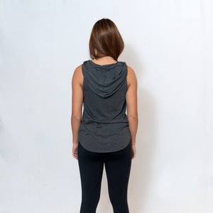 PERFECT SLEEVELESS HOODIE - CHARCOAL