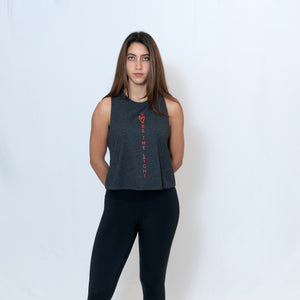 Gray Heather Cropped Racerback Tank Top with Ari Heart and Be the Light Design in Red