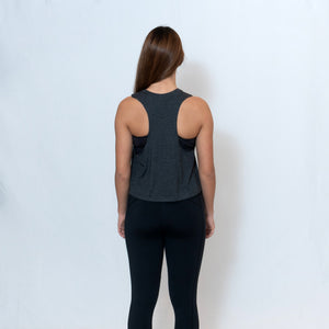 Rear View Gray Heather Cropped Racerback Tank Top with Ari Heart and Be the Light Design in Red