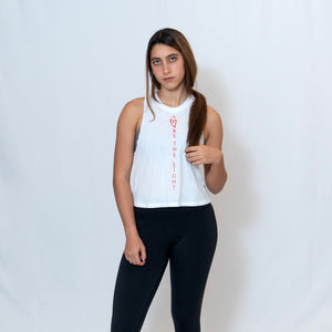 White Cropped Racerback Tank Top with Ari Heart and Be the Light Design in Red