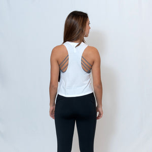 Rear View White Cropped Racerback Tank Top with Ari Heart and Be the Light Design in Red