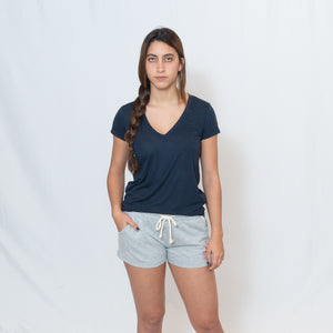 Navy V-neck Jersey Tshirt with Ari Heart and Be the Light Design on the Left Sleeve