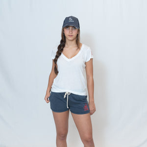 White V-neck Jersey Tshirt with Ari Heart and Be the Light Design on the Left Sleeve