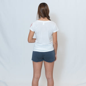Rear View White V-neck Jersey Tshirt with Ari Heart and Be the Light Design on the Left Sleeve