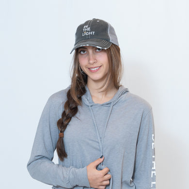 Be the Light Unisex Frayed Trucker Cap in Black/Gray