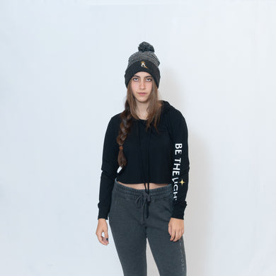 Cropped Long Sleeve Hoodie T-shirt with Be the Light on the left sleeve