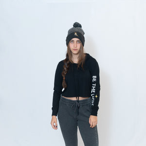 CROPPED LONG SLEEVE HOODED TEE - BLACK